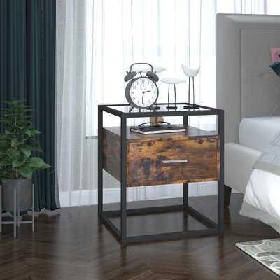 1 - Drawer Metal Nightstand in Vintage Brown - Wayfair