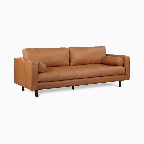 "Dennes 88"" Sofa,Tan,Charme Leather,Walnut - West Elm"