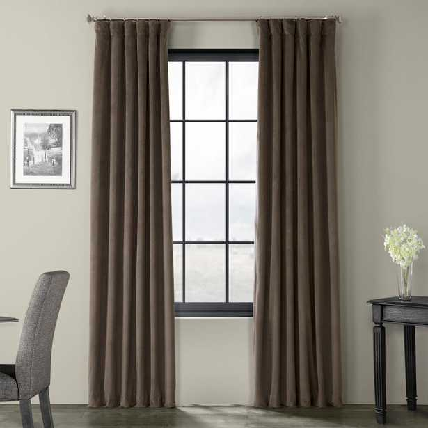 Exclusive Fabrics & Furnishings Blackout Signature Gunmetal Grey Blackout Velvet Curtain - 50 in. W x 96 in. L (1 Panel) - Home Depot