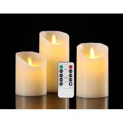 Flameless Candles Battery Operated Pillar Real Wax Flickering Moving Wick Electric LED Candle Sets With Remote Control Cycling 24 Hours Timer - Wayfair