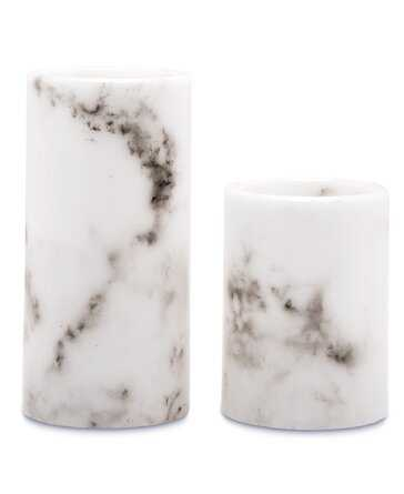 Artificial Flameless Led Pillar Candle, Set of 2, White Marble - Wayfair