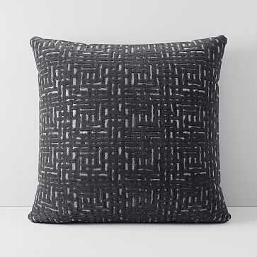 """Allover Crosshatch Jacquard Velvet Pillow Cover, 18""""x18"""", Slate - West Elm"""
