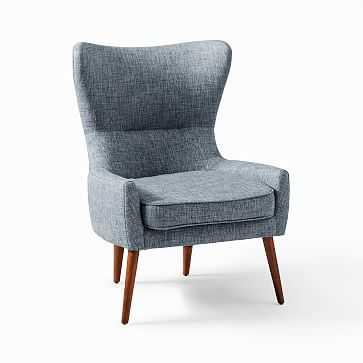 Erik Wing Chair, Designtex Tweed Multi, Medium Blue - West Elm