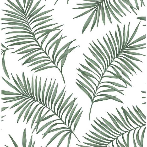 Superfresco Easy Scandi Leaf White and Green Forest Removable Wallpaper, White/Green - Home Depot