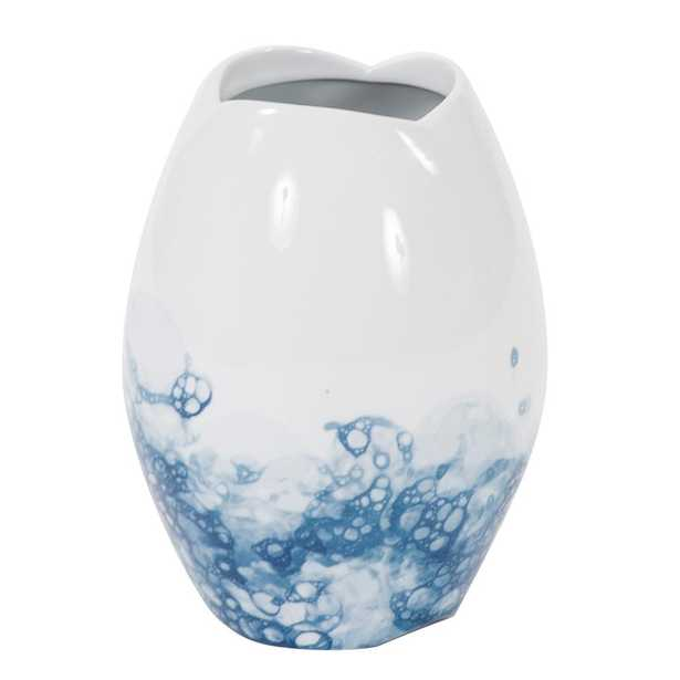 Howard Elliott Collection Blue and White Porcelain Scalloped Vase, Small, White and Blue - Home Depot