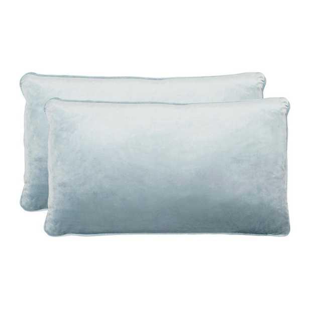 Lucas Harbor Blue Lumbar Velvet 2-Piece Decorative Pillow Set - Home Depot