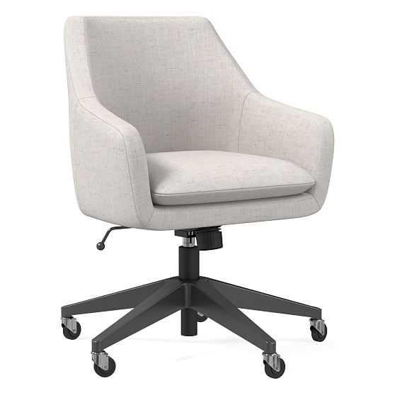 Helvetica Office Chair, Performance Coastal Linen, Stone, Antique Bronze - West Elm