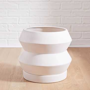 Totem Floor Planters, White, Small - West Elm