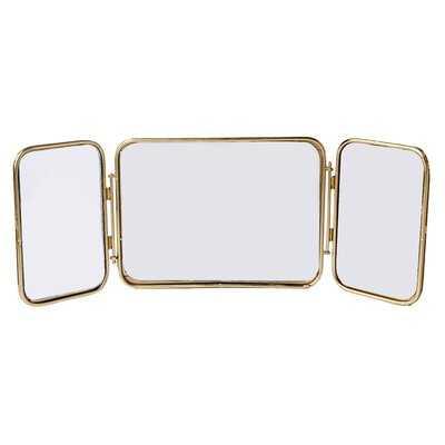 Hersche Glass & Brass Folding Triptych Glam Table Mirror - Wayfair