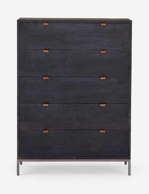 Rosamonde 5-Drawer Dresser, Black Wash Poplar - Lulu and Georgia