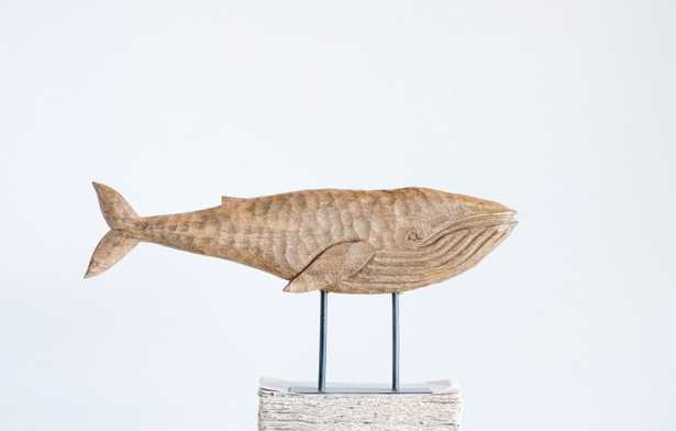 Hand-Carved Mango Wood Whale on Metal Stand - Nomad Home