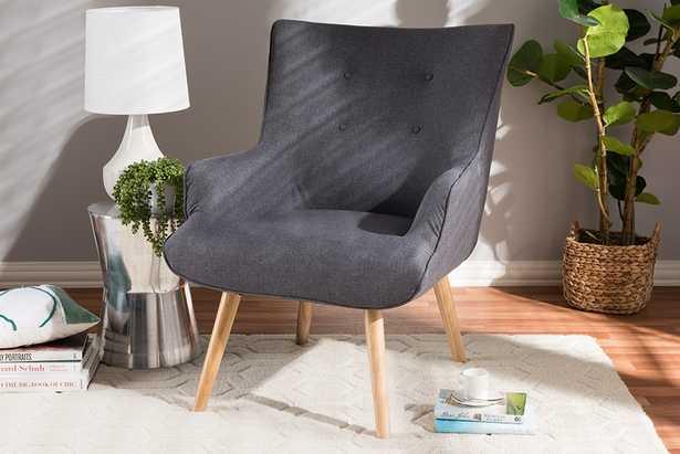 Baxton Studio Alden Mid-Century Modern Dark Grey Fabric Upholstered Natural Finished Wood Lounge Chair - Lark Interiors