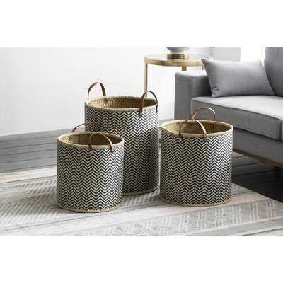 Laundry Palm Leaf 3 Piece Wicker Basket Set - Wayfair