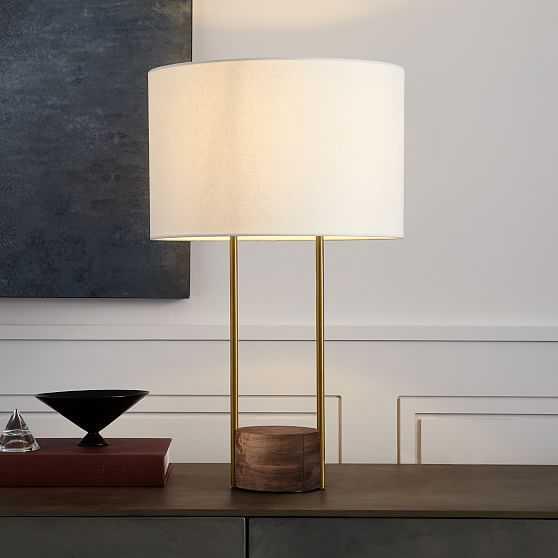 Industrial Outline Table Lamp, Large, Cool Walnut/Antique Brass - West Elm