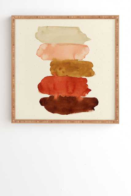 """Framed Wall Art Bamboo, Watercolor Swatches Rust Brown, 30"""" x 30"""" - Wander Print Co."""