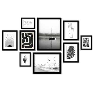 Black and White Serenity - 9 Piece Picture Frame Photograph Print Set on Paper - Wayfair