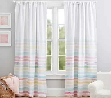 "Kayla Rainbow Stripe Blackout Curtain, 84"", Multi - Pottery Barn Kids"
