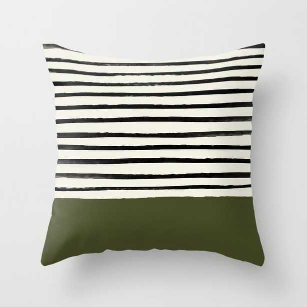 """Olive Green X Stripes Couch Throw Pillow by Leah Flores - Cover (24"""" x 24"""") with pillow insert - Indoor Pillow - Society6"""