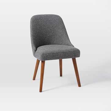 Mid-Century Upholstered Dining Chair, Salt + Pepper, Tweed, Pecan - West Elm