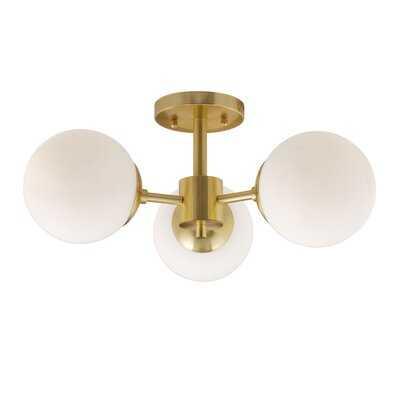 3-Light Soft Gold Semi Flush Mount With Satin Opal Glass - Wayfair