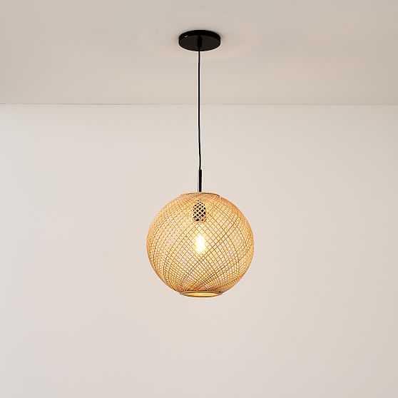 "Wicker Globe Pendant 13.75"" Natural, Damp/Open Weave Electric, Dark Bronze - West Elm"