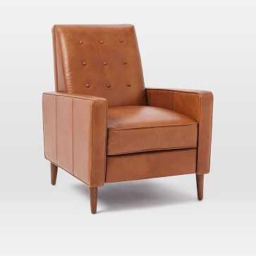 Rhys Midcentury Recliner, Ludlow Leather, Mace, Pecan - West Elm
