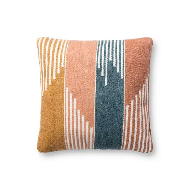 """PILLOWS P1148 MULTI 18"""" x 18"""" Cover w/Poly - Magnolia Home by Joana Gaines Crafted by Loloi Rugs"""