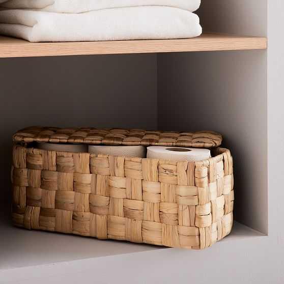 Rounded Weave Basket, Rectangular Lidded, Small - West Elm
