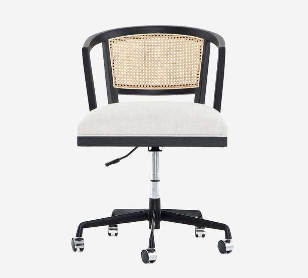 Lisbon Cane Desk Chair, Brushed Ebony - Pottery Barn