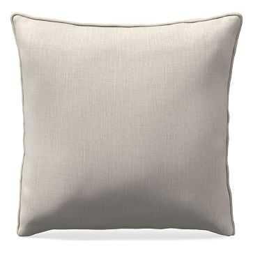 "18""x 18"" Welt Seam Pillow, N/A, Performance Yarn Dyed Linen Weave, Alabaster, N/A - West Elm"