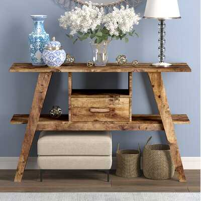 Console Table 47L Brown Reclaimed Wood 1 Drawer 1 Shelf - Wayfair
