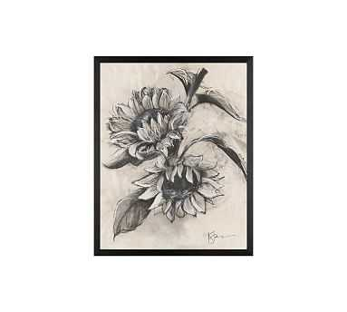 """Charcoal Sunflower Sketch, Sunflower on Branch, 16"""" x 20"""" Wood Gallery, Black, No Mat - Pottery Barn"""