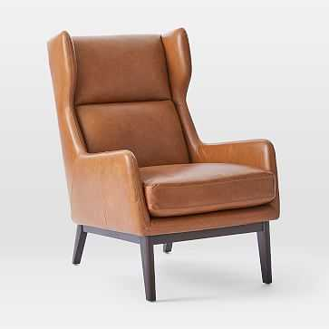 Ryder Leather Chair, Saddle Leather, Nut, Dark Walnut - West Elm