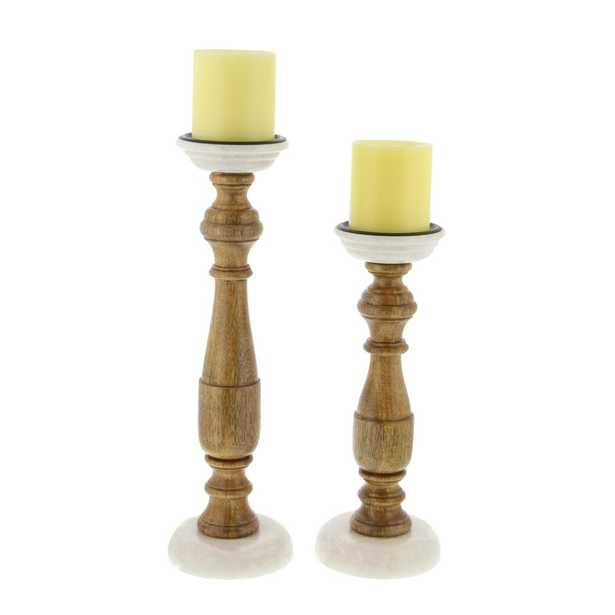 New Traditional Stained Wood and Marble Candle Holders (Set of 2), Brown/Tan - Home Depot
