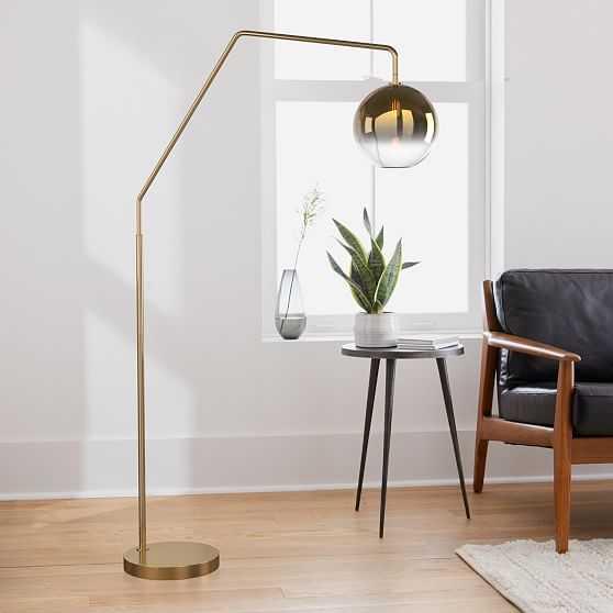 Sculptural Overarching Floor Lamp, Globe Medium, Gold Ombre, Antique Brass - West Elm