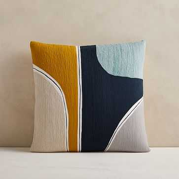 """Crewel Outlined Shapes Pillow Cover, 20""""x20"""", Midnight - West Elm"""