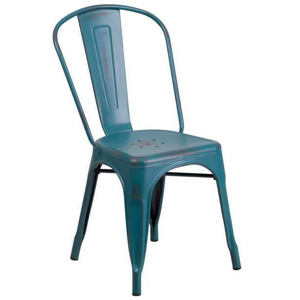 Carnegy Avenue Metal Outdoor Dining Chair in Kelly Blue-Teal - Home Depot