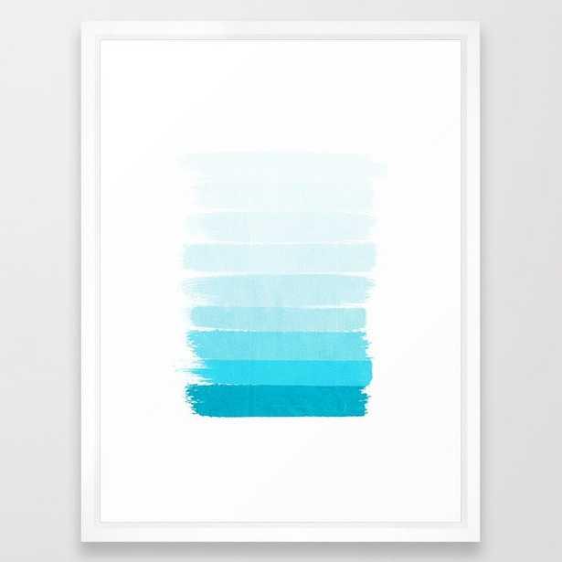 Isla - Ombre Brushstroke - Blue Turquoise, Bright, Summer, Tropical, Beach Ocean Framed Art Print by Charlottewinter - Vector White - MEDIUM (Gallery)-20x26 - Society6