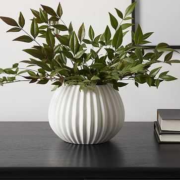 Sanibel Textured Vase, White, Small Round - West Elm