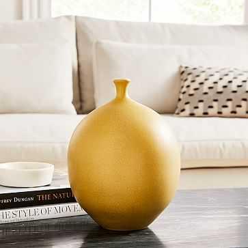 Crackle Glaze Vase, Dijon, Medium Round - West Elm
