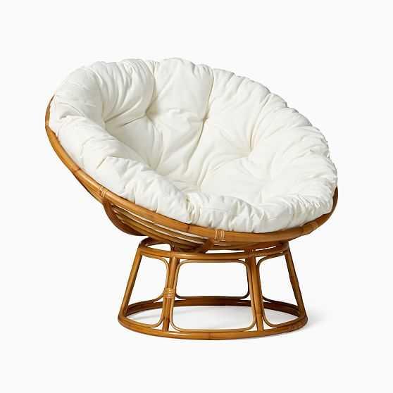 Solana Papasan Chair + Cushion Poly Natural Canvada Rattan - West Elm