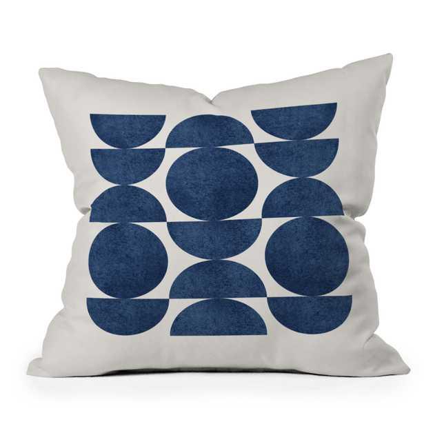 "Blue Navy Retro Scandinavian Mid Century by MoonlightPrint - Outdoor Throw Pillow 18"" x 18"" - Wander Print Co."