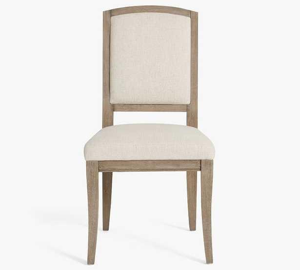 Adrian Dining Chair, Basketweave Slub Oatmeal/Gray Wash Leg - Pottery Barn