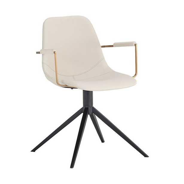 Cassius Swivel Chair - Abbington Black / Bravo Black Upholstery Color: Cream - Perigold
