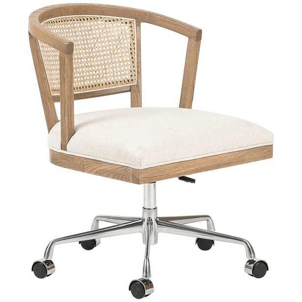 Alexa Mid-Century Oak and Cane Adjustable Swivel Desk Chair - Style # 97M53 - Lamps Plus