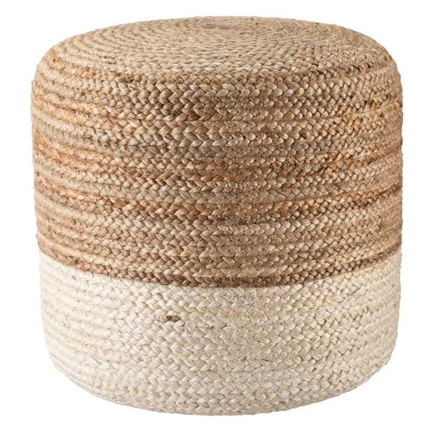 Oliana Ombre White/ Beige Cylinder Pouf SAA19 - Collective Weavers