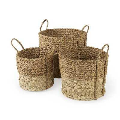 15.7L X 15.7 (Set Of 3) Brown Two Tone Water Hyacinth And Cornhusk Round Basket W/ Handles - Wayfair