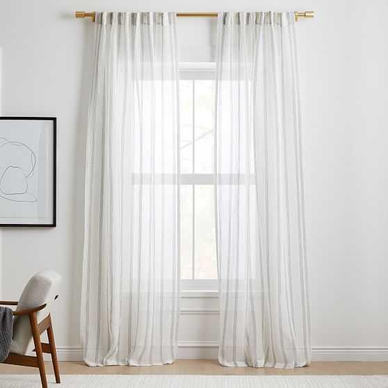 "Sheer Linen Cotton Mini Stripe Curtain, White/Slate, 48""x108"" - West Elm"