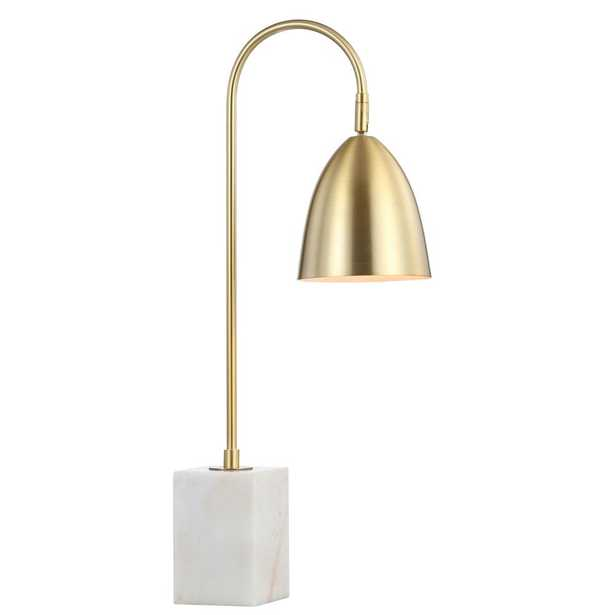JONATHAN Y Ana 26 in. Gold Arched Metal with Marble Base LED Table Lamp, Brass Gold/White - Home Depot