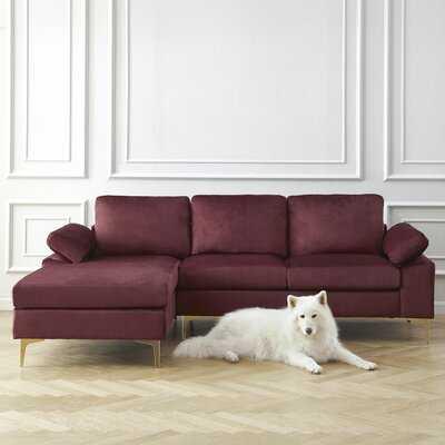 "Marchagee 94"" Wide Velvet Left Hand Facing Sofa & Chaise - Wayfair"